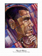 Obama Pastels Framed Prints - Obama. The Thinker Framed Print by Fred Makubuya