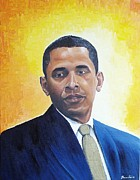 Barack Obama Painting Posters - Obama Poster by Thomas Faires