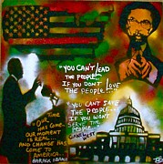 Civil Rights Paintings - Obama vs. Cornel by Tony B Conscious