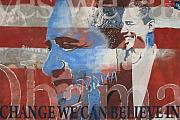 Obama Mixed Media Metal Prints - Obama Yes Metal Print by Xavier Carter