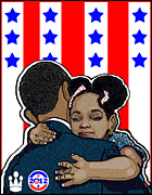 Dnc Framed Prints - Obamas Embrace Framed Print by Stanley Slaughter Jr