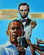 Lincoln Paintings - Obamas Heritage by John Lautermilch