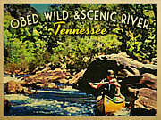 Tennessee River Framed Prints - Obed Wild Scenic River Tennessee  Framed Print by Vintage Poster Designs