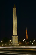 Place De La Concorde Posters - Obelisk of Luxor and Eiffel Tower at Night Poster by Clarence Holmes