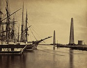 Sailing Ships Prints - Obelisks On Shore And Ships Moored Print by Everett