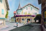 Bicycle Painting Originals - Oberammergau Street by Sam Sidders