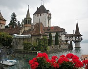 Geraniums Posters - Oberhofen Castle Switzerland Poster by Marilyn Dunlap