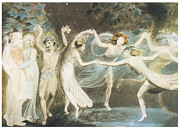 Puck Prints - Oberon Titania and Puck with Fairies Dancing Print by William Blake
