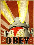 Robots Framed Prints - OBEY Version 2 Framed Print by Michael Knight