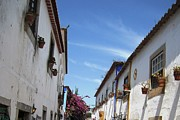 Hand Crafted Art - Obidos Street Portugal by John A Shiron