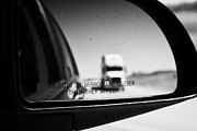Wing Mirror Posters - objects in mirror are closer than they appear in car side mirror with truck on highway Canada Poster by Joe Fox