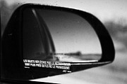 Wing Mirror Posters - objects in mirror are closer than they appear in french on car side window on highway Canada Poster by Joe Fox