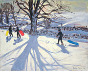 Sledge Framed Prints - obogganers near Youlegrave Framed Print by Andrew Macara