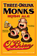 Beer Drawings Prints - OBrien Three Drunk Monks Print by John OBrien