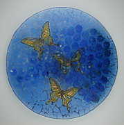 Circle Glass Art Originals - Obscure- Glass fused artwork by Michelle Rial