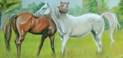 Dapple Horse Pastels Prints - Obstruction Print by Crystal  Harris-Donnelly