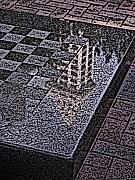 Black Light Blue Prints - Occidental Park Checkerboard Print by Tim Allen