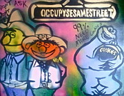 Sesame Street Prints - Occupy Bert Ernie and Cookie Print by Tony B Conscious