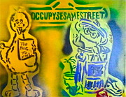 First Amendment Paintings - Occupy Big Bird and Grouch by Tony B Conscious