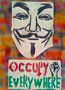 Democrat Painting Framed Prints - Occupy Mask Framed Print by Tony B Conscious