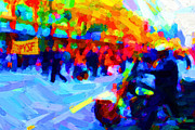 Police Art Prints - Occupy SF In Abstract Print by Wingsdomain Art and Photography