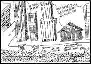 Laughzilla Drawings - Occupy Wall Street as Bankers LOL cartoon by Yasha Harari