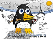Caricature Drawings - Occupy Winter in Paris by Yasha Harari