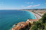 Residential Structure Prints - Ocean And Shoreline Of Nice, France Print by Frederic Pacorel