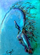 Horse Drawings Framed Prints - Ocean Blue Framed Print by Tarja Stegars