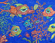 Rainbow Fish Paintings - Ocean Carnival by Tanielle Childers