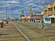 Clouds Digital Art Framed Prints - Ocean City Boardwalk Framed Print by Edward Sobuta