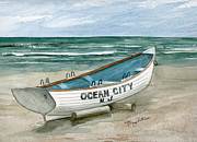 Jersey Shore Painting Originals - Ocean City Lifeguard Boat by Nancy Patterson