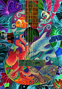 Clown Fish Drawings - Ocean Dream Guitar by Julie Oakes