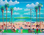 Boardwalk Paintings - Ocean Front Walk by Frank Strasser