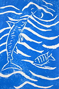 Linocut Framed Prints - Ocean Fun Framed Print by Marita McVeigh