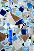 Rocks Glass Art Posters - Ocean Glass Mosaics Poster by Elizabeth Robinette Tyndall
