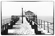 Ocean Black And White Prints Prints - Ocean Grove Fishing Club Print by John Rizzuto