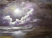 Nightime Paintings - Ocean Grove Moon by Ken Ahlering