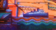 Liner Mixed Media - OCEAN LINER  1  Art Deco by Gunter  Hortz