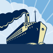 Illustration Art - Ocean liner boat by Aloysius Patrimonio