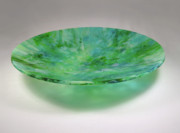 Blues Glass Art Originals - Ocean Mesh Melt Bowl by Alexis Boz