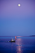 Maine Photo Posters - Ocean Moonrise Poster by Steve Gadomski