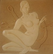 Nudes Sculpture Posters - OCEAN NYMPH  -  Art Deco Poster by Gunter  Hortz