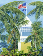 American Flag Framed Prints - Ocean Reef Club Framed Print by Danielle Perry