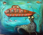 Humor Painting Prints - Ocean Screams Print by Leah Saulnier The Painting Maniac