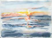 Jan Anderson Watercolors - Ocean sunrise by Jan Anderson