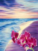 Beach  Art Paintings - Ocean Sunrise Orchids by Barbara Eberhart - Printscapes