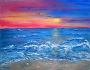 Sea Birds Pastels - Ocean Sunrise by Sandy Hemmer