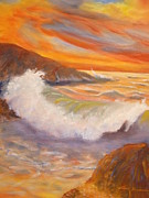 North Sea Paintings - Ocean Sunset by Anna  Henderson