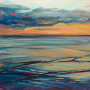 Donna Shortt Painting Posters - Ocean Sunset Poster by Donna Shortt